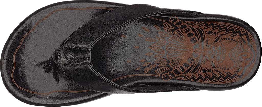 Men's OluKai Kulia Thong Sandal, Black/Black Leather, large, image 2