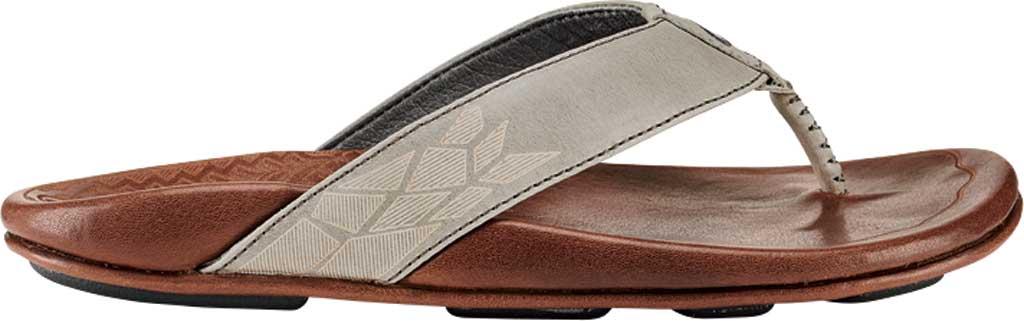 Men's OluKai Kulia Thong Sandal, Charcoal/Dark Wood Leather, large, image 1