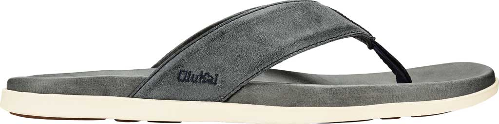 Men's OluKai Nalukai Flip Flop, Vintage Indigo/Charcoal Full Grain Leather, large, image 1