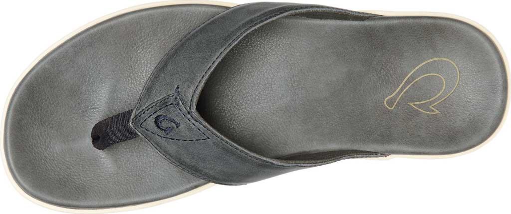 Men's OluKai Nalukai Flip Flop, Vintage Indigo/Charcoal Full Grain Leather, large, image 2