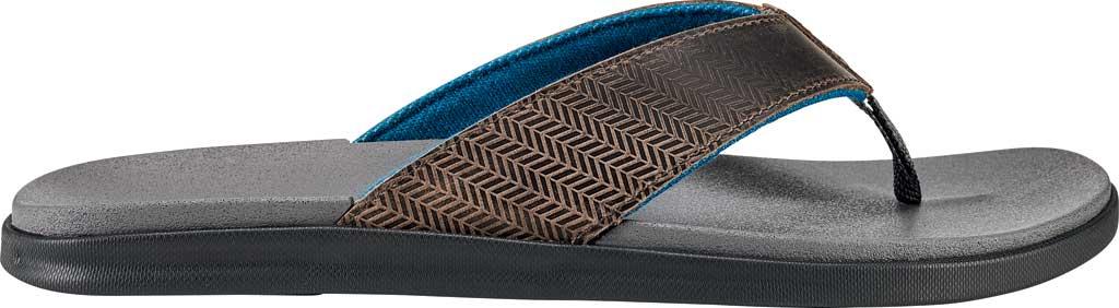 Men's OluKai Alania Flip Flop, Charcoal/Charcoal Nubuck, large, image 1