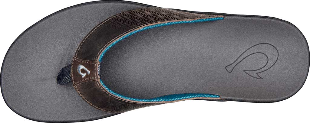 Men's OluKai Alania Flip Flop, Charcoal/Charcoal Nubuck, large, image 2