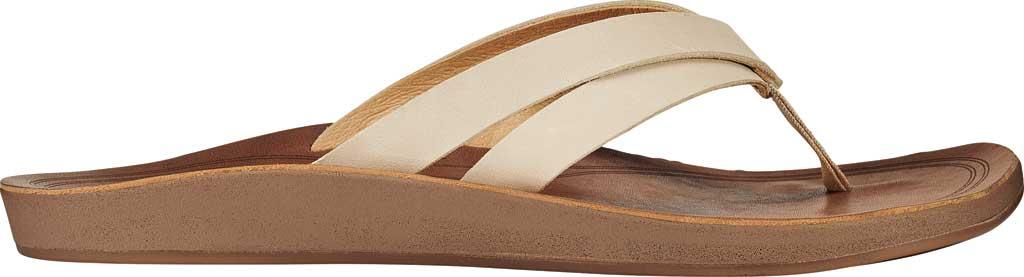 Women's OluKai Kaekae Flip Flop, Tapa/Tapa Full Grain Leather, large, image 1