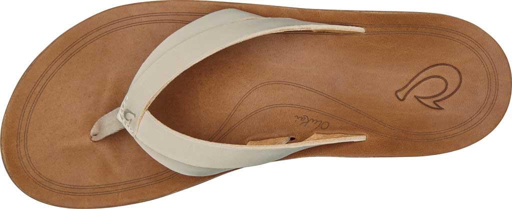 Women's OluKai Kaekae Flip Flop, Tapa/Tapa Full Grain Leather, large, image 2