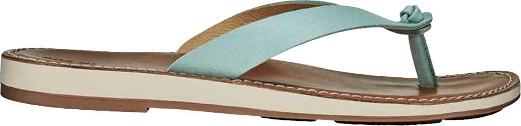 Women's OluKai Nohie Thong Sandal, Tide Blue/Tan Leather, large, image 1