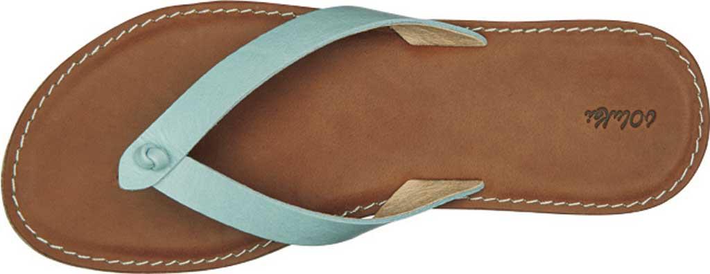 Women's OluKai Nohie Thong Sandal, Tide Blue/Tan Leather, large, image 3