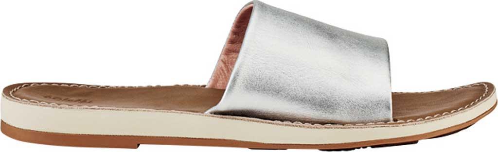 Women's OluKai Nohie 'Olu Slide, Silver/Tan Leather, large, image 1