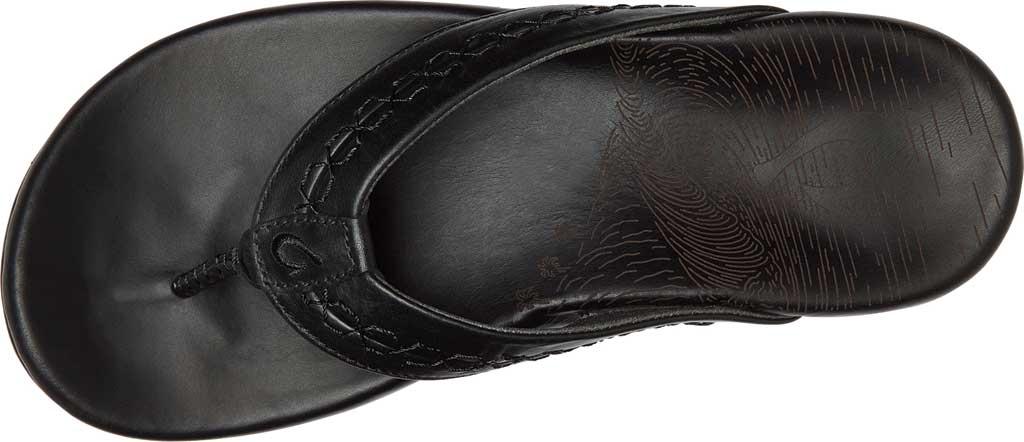 Men's OluKai Honoli'I Thong Sandal, Black/Black Full Grain Leather, large, image 2