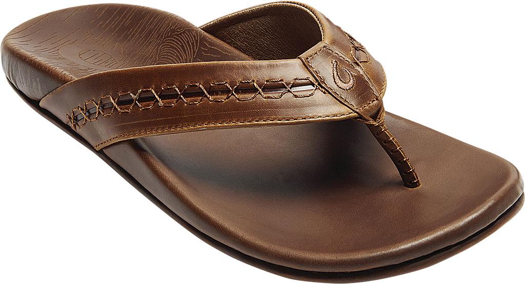 Men's OluKai Honoli'I Thong Sandal, Toffee/Toffee Full Grain Leather, large, image 1