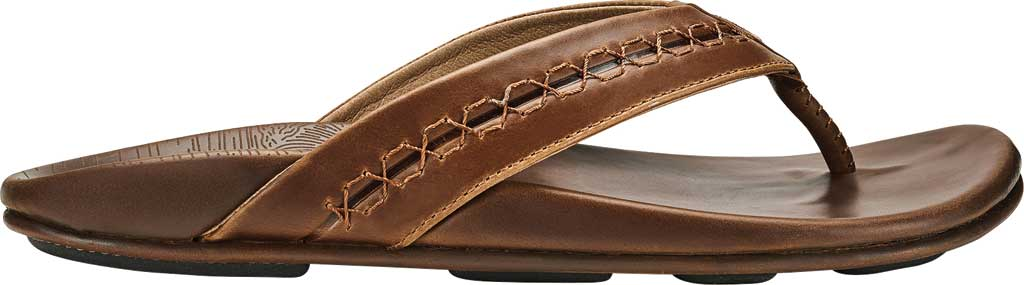 Men's OluKai Honoli'I Thong Sandal, Toffee/Toffee Full Grain Leather, large, image 2