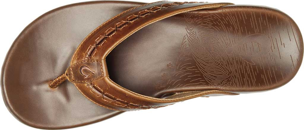 Men's OluKai Honoli'I Thong Sandal, Toffee/Toffee Full Grain Leather, large, image 3