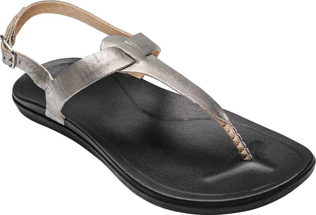 Women's OluKai Ekekeu Thong Sandal, Silver/Black Leather, large, image 1