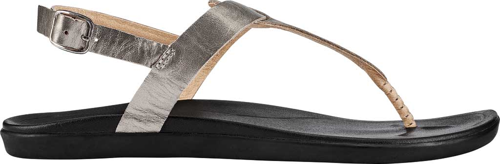 Women's OluKai Ekekeu Thong Sandal, Silver/Black Leather, large, image 2