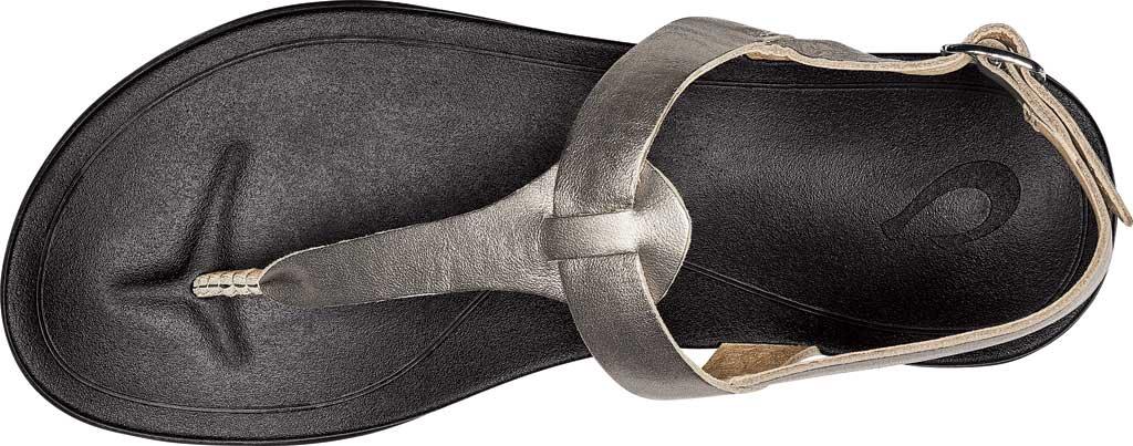 Women's OluKai Ekekeu Thong Sandal, Silver/Black Leather, large, image 3