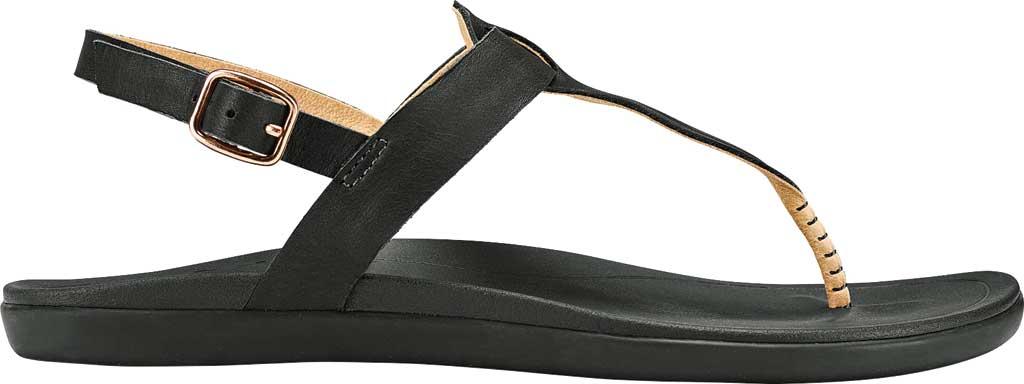 Women's OluKai Ekekeu Thong Sandal, Black/Black Full Grain Leather, large, image 1