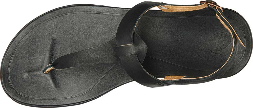 Women's OluKai Ekekeu Thong Sandal, Black/Black Full Grain Leather, large, image 2