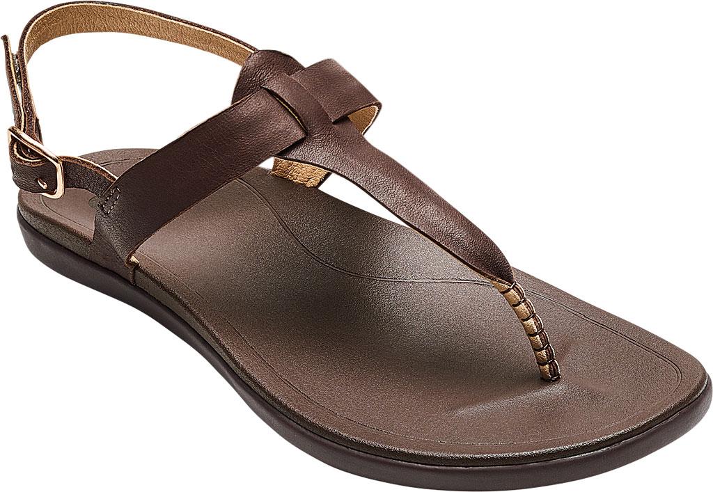 Women's OluKai Ekekeu Thong Sandal, Kona Coffee/Kona Coffee Full Grain Leather, large, image 1