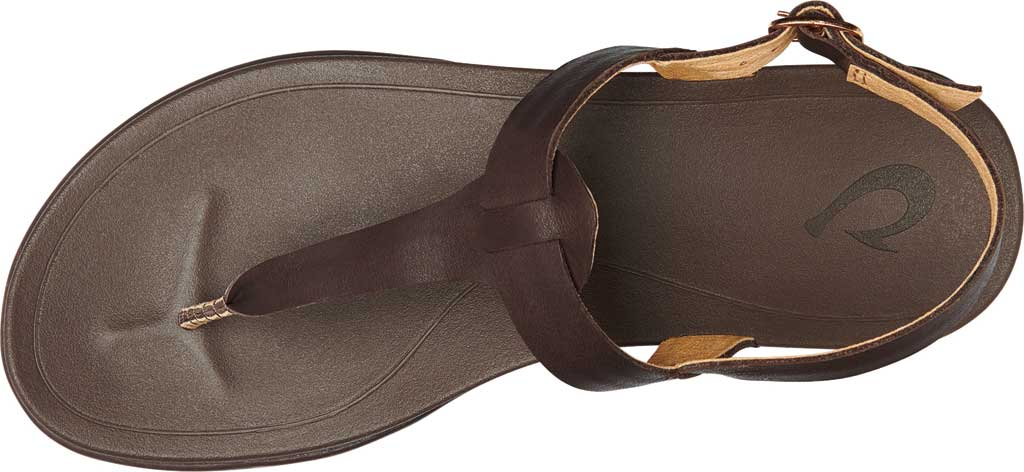 Women's OluKai Ekekeu Thong Sandal, Kona Coffee/Kona Coffee Full Grain Leather, large, image 3