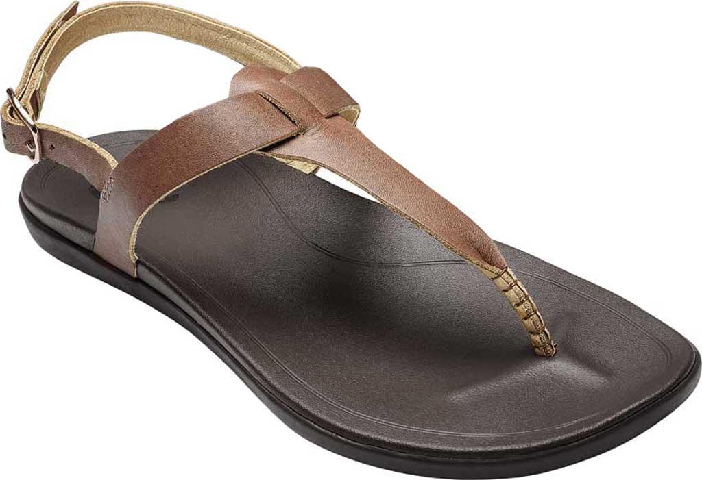 Women's OluKai Ekekeu Thong Sandal, Sahara/Kona Coffee Full Grain Leather, large, image 1