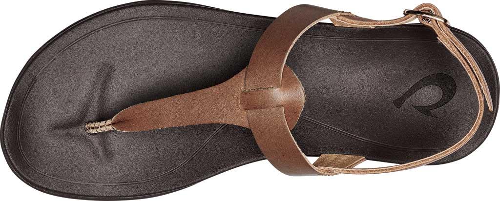 Women's OluKai Ekekeu Thong Sandal, Sahara/Kona Coffee Full Grain Leather, large, image 3