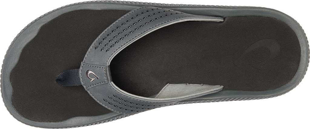 Men's OluKai Ulele Thong Sandal, Dark Shadow/Black Synthetic, large, image 2