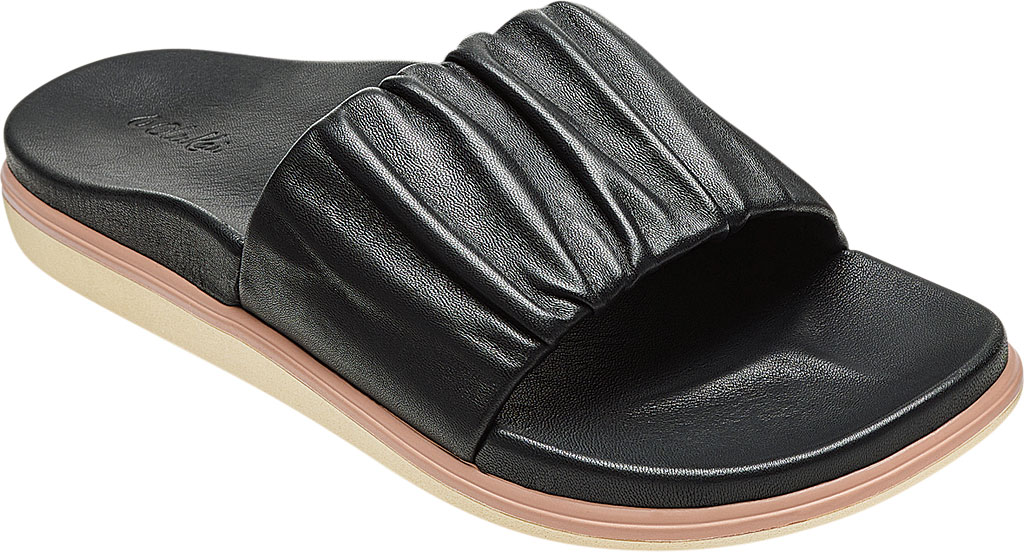 Women's OluKai Pihapiha Slide, Black/Off White Nappa Leather, large, image 1