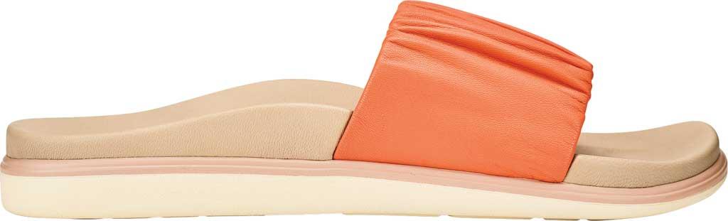 Women's OluKai Pihapiha Slide, Fusion Coral/Off White Nappa Leather, large, image 1