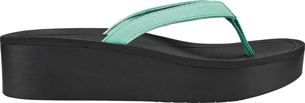 Women's OluKai Pi'O Lua Thong Sandal, Green Aqua/Black Synthetic, large, image 1