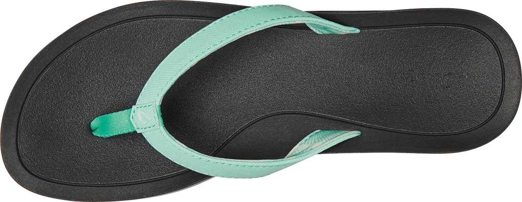 Women's OluKai Pi'O Lua Thong Sandal, Green Aqua/Black Synthetic, large, image 2
