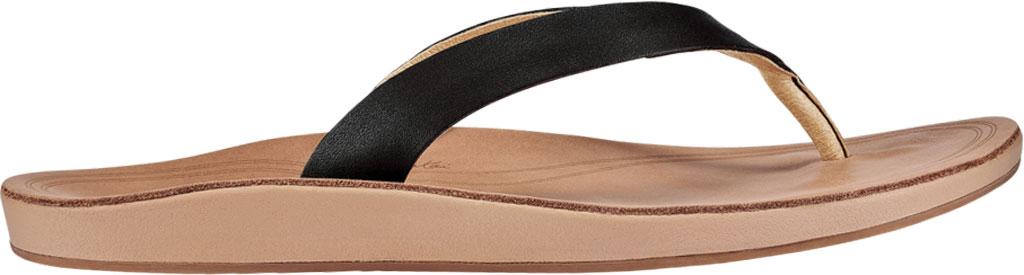Women's OluKai Nonohe Flip Flop, Black/Golden Sand Antiqued Full Grain Leather, large, image 2