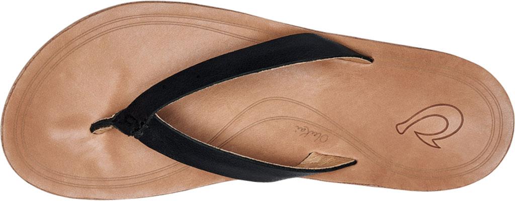 Women's OluKai Nonohe Flip Flop, Black/Golden Sand Antiqued Full Grain Leather, large, image 3