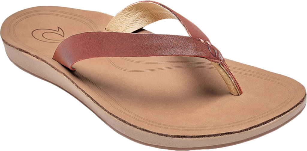 Women's OluKai Nonohe Flip Flop, Cedarwood/Golden Sand Antiqued Full Grain Leather, large, image 1
