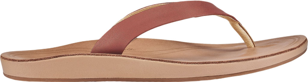 Women's OluKai Nonohe Flip Flop, Cedarwood/Golden Sand Antiqued Full Grain Leather, large, image 2