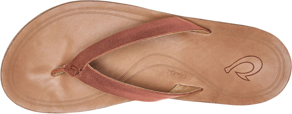 Women's OluKai Nonohe Flip Flop, Cedarwood/Golden Sand Antiqued Full Grain Leather, large, image 3
