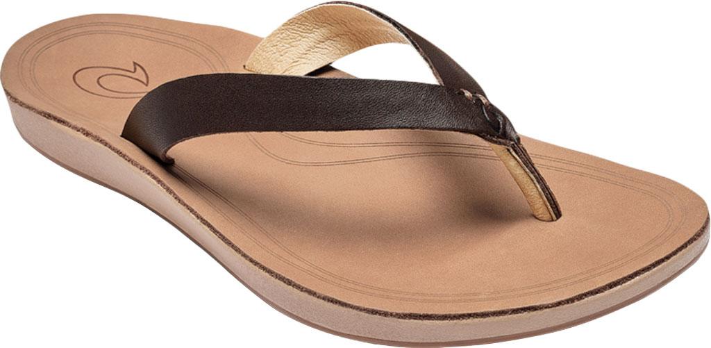 Women's OluKai Nonohe Flip Flop, Dark Java/Golden Sand Antiqued Full Grain Leather, large, image 1