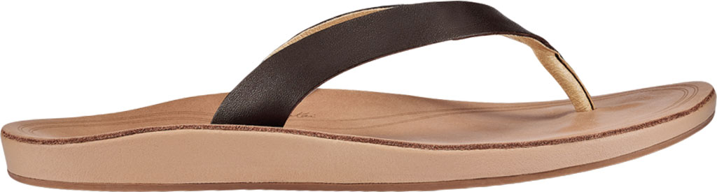Women's OluKai Nonohe Flip Flop, Dark Java/Golden Sand Antiqued Full Grain Leather, large, image 2