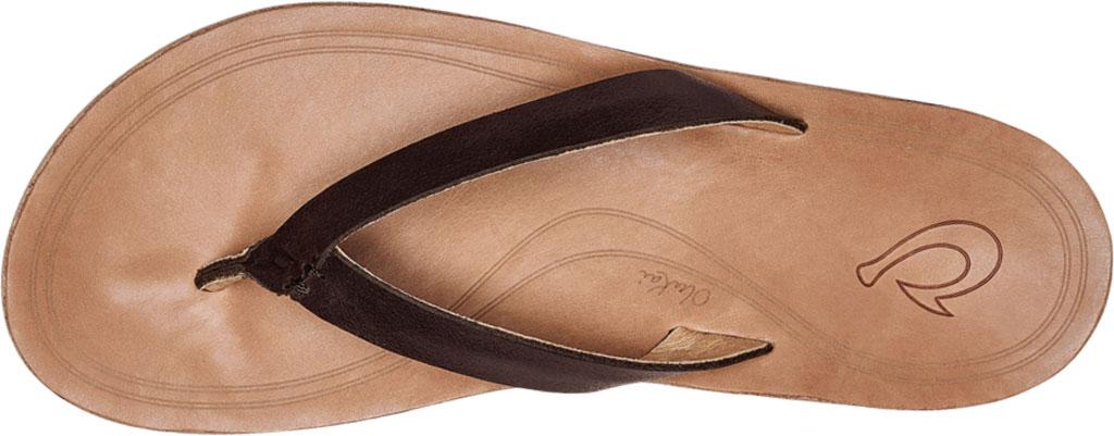 Women's OluKai Nonohe Flip Flop, Dark Java/Golden Sand Antiqued Full Grain Leather, large, image 3