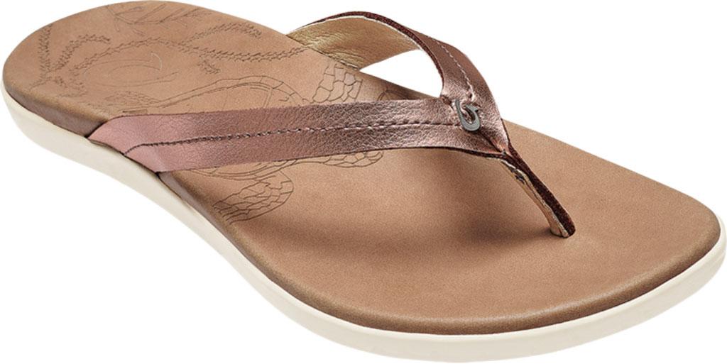 Women's OluKai Honu Flip Flop, Pink Copper/Sahara Full Grain Leather, large, image 1