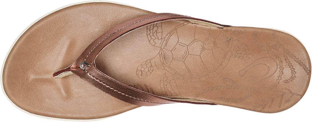 Women's OluKai Honu Flip Flop, Pink Copper/Sahara Full Grain Leather, large, image 3