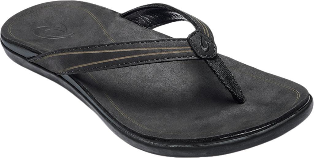 Women's OluKai Aukai Flip Flop, Black/Black Full Grain Leather, large, image 1