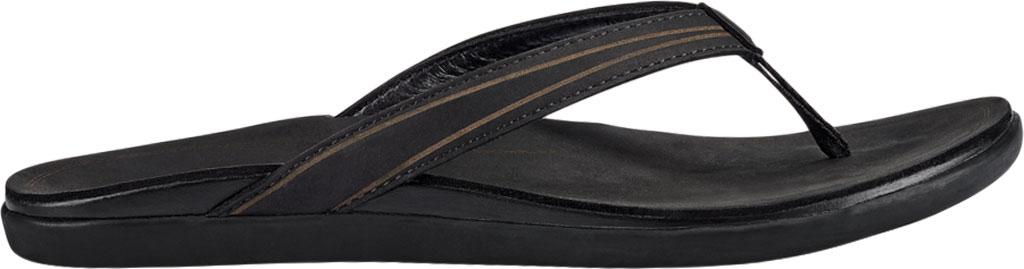 Women's OluKai Aukai Flip Flop, Black/Black Full Grain Leather, large, image 2