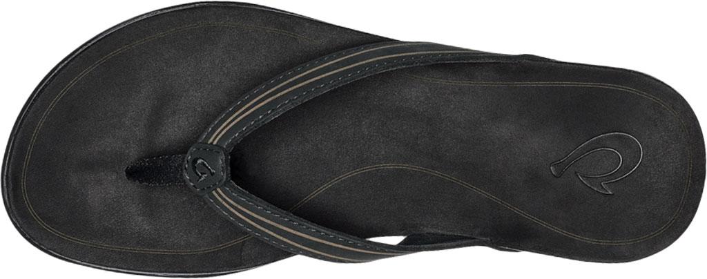 Women's OluKai Aukai Flip Flop, Black/Black Full Grain Leather, large, image 3