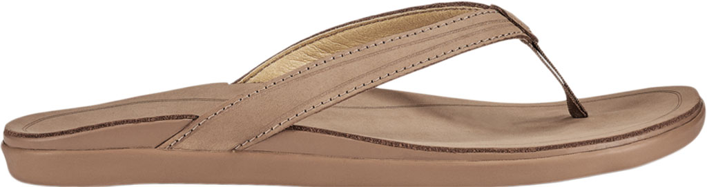 Women's OluKai Aukai Flip Flop, Tan/Tan Full Grain Leather, large, image 2