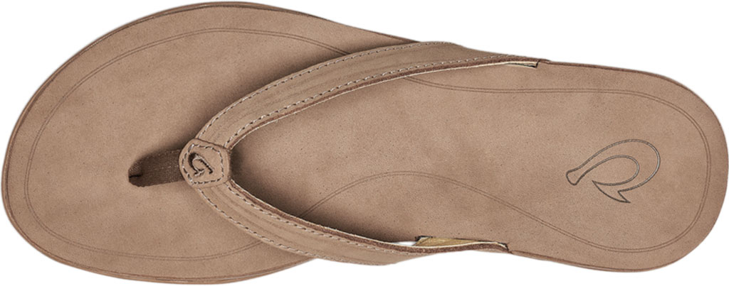 Women's OluKai Aukai Flip Flop, Tan/Tan Full Grain Leather, large, image 3