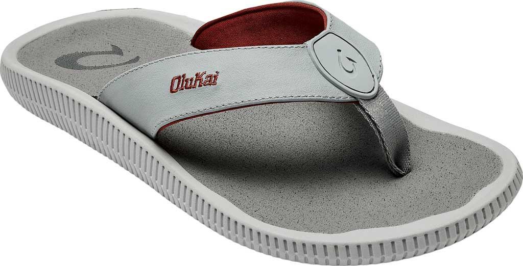 Men's OluKai Ulele Kai Flip Flop, Pale Grey/Sharkskin Silicone, large, image 1