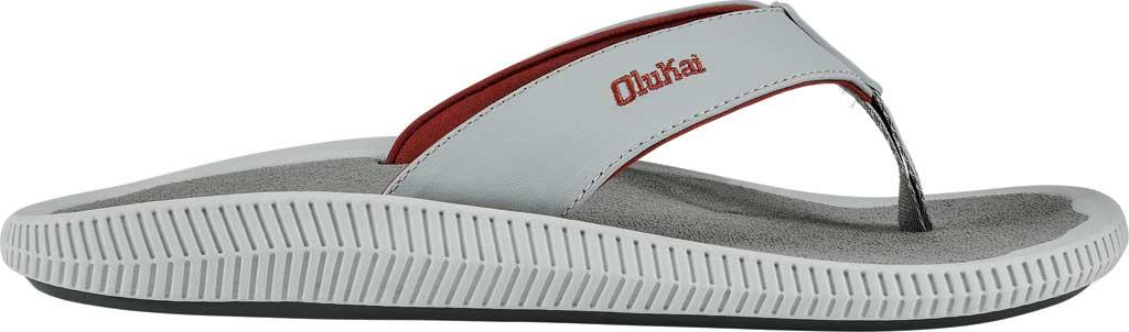 Men's OluKai Ulele Kai Flip Flop, Pale Grey/Sharkskin Silicone, large, image 2