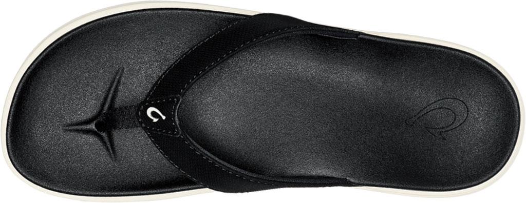 Women's OluKai Nu'A Pi'O Flip Flop, Black/Black Synthetic, large, image 3