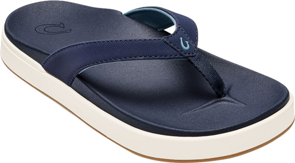 Women's OluKai Nu'A Pi'O Flip Flop, Trench Blue/Trench Blue Synthetic, large, image 1