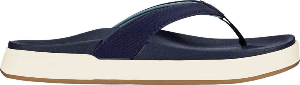 Women's OluKai Nu'A Pi'O Flip Flop, Trench Blue/Trench Blue Synthetic, large, image 2