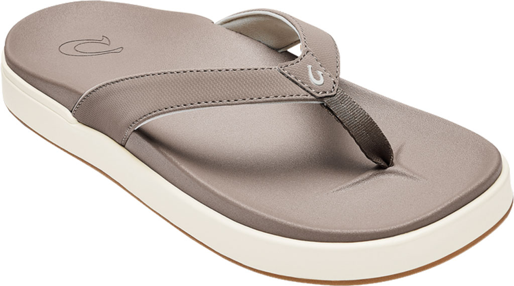 Women's OluKai Nu'A Pi'O Flip Flop, Warm Taupe/Warm Taupe Synthetic, large, image 1